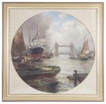 Lot 46 - Arthur Wilde Parsons (Brit., 1854 - 1931) 'Tower Bridge' oil on canvas
