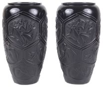 A pair of black Lalique 'Hesperides' pattern vases