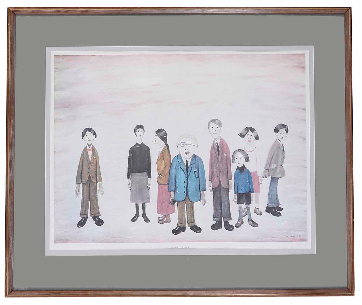 Lot 52 - Laurence S Lowry, RBA, RA, (Brit., 1887 - 1976) 'His Family', print