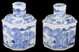 A pair of early 19th century large Chinese export ware blue and white tea poys and covers