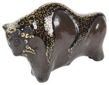 A studio pottery model of a bull, 20th century