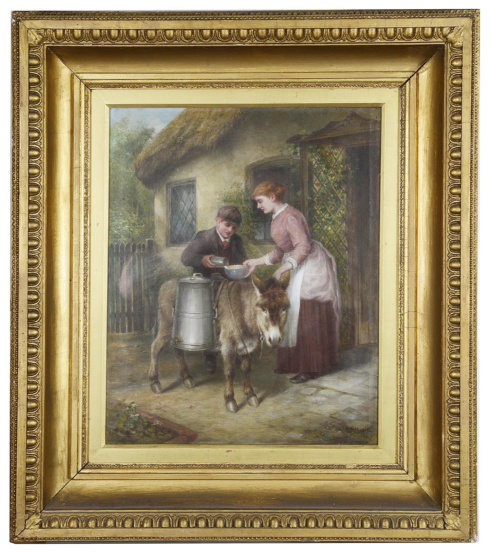 Lot 47 - J K Makin (Brit., active 1882-1906)'Delivering the milk' oil on canvas
