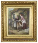 J K Makin (Brit., active 1882-1906)'Delivering the milk' oil on canvas