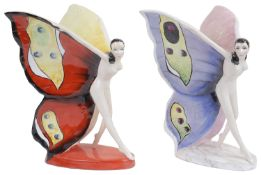Two Carlton Ware colour trial models of the 'Butterfly Girl'