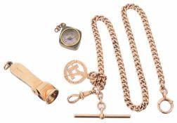 A 9ct gold gentleman's watch Albert chain