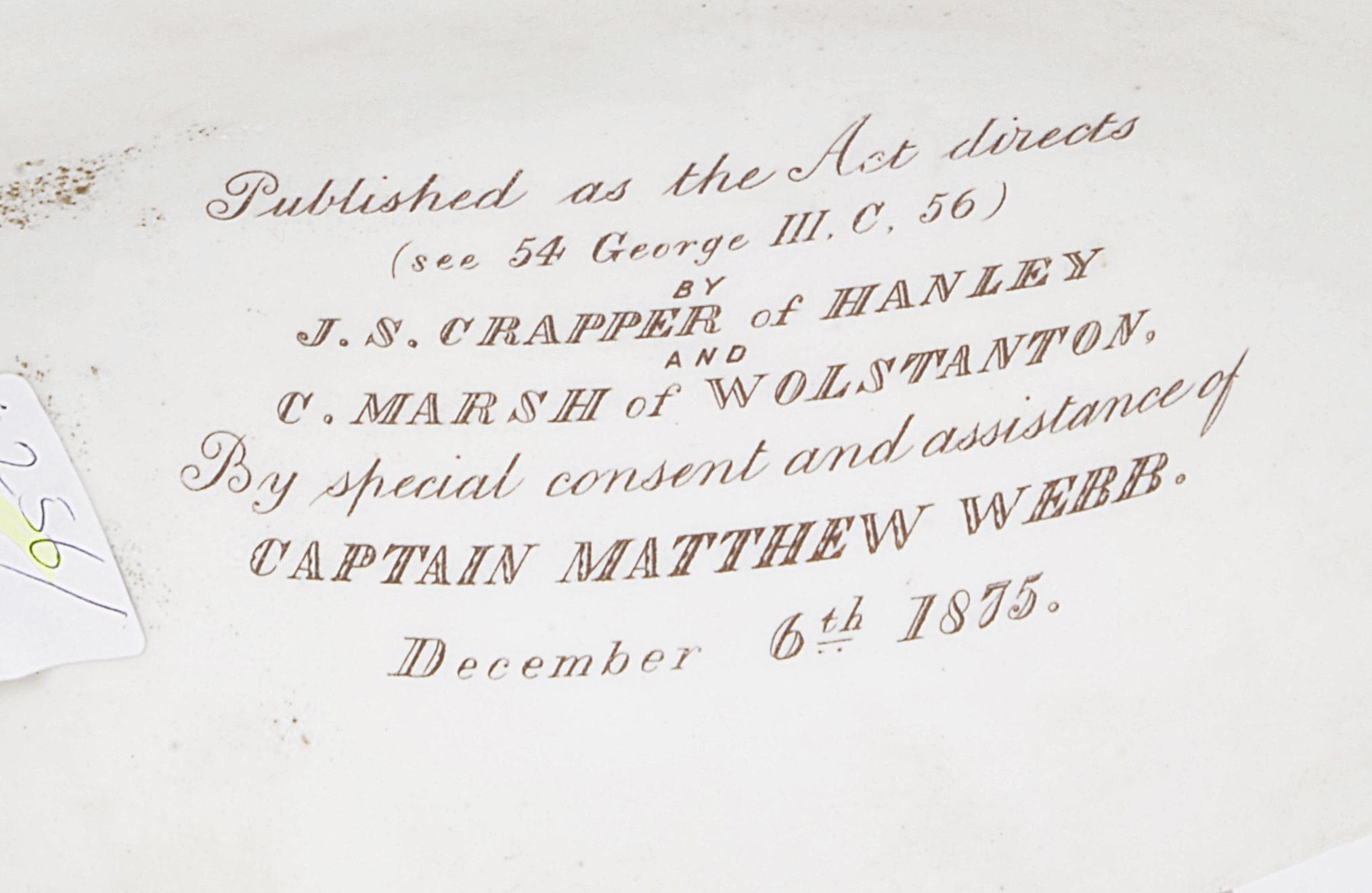 Lot 56 - A Staffordshire parian bust of Captain Matthew Webb, c1875,