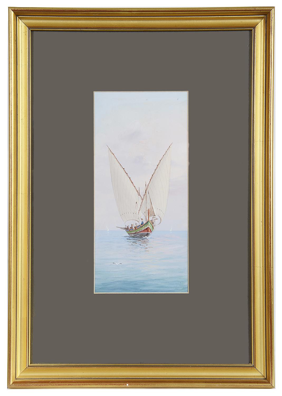 Lot 41 - Continental School 'Boat under full sail' watercolour
