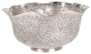 An Indian white metal bowl, 19th century