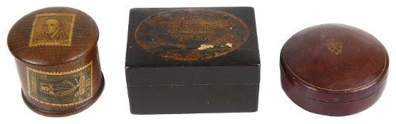 Three 19th century treen boxes