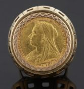 A Victorian fine gold sovereign, 1894 in heavy gold ring mount