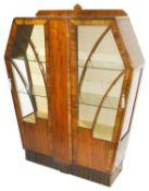 An Art Deco mahogany display cabinet