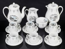 A Wedgwood 'Travel' pattern six piece coffee set designed by Eric Ravilious