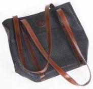 A vintage Mulberry black scotchgrain shoulder leather tote bag
