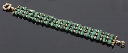 A Continental 14K and malachite bead bracelet