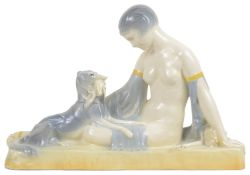 An Art Deco pottery figure group, modelled after A.J.Foretay,