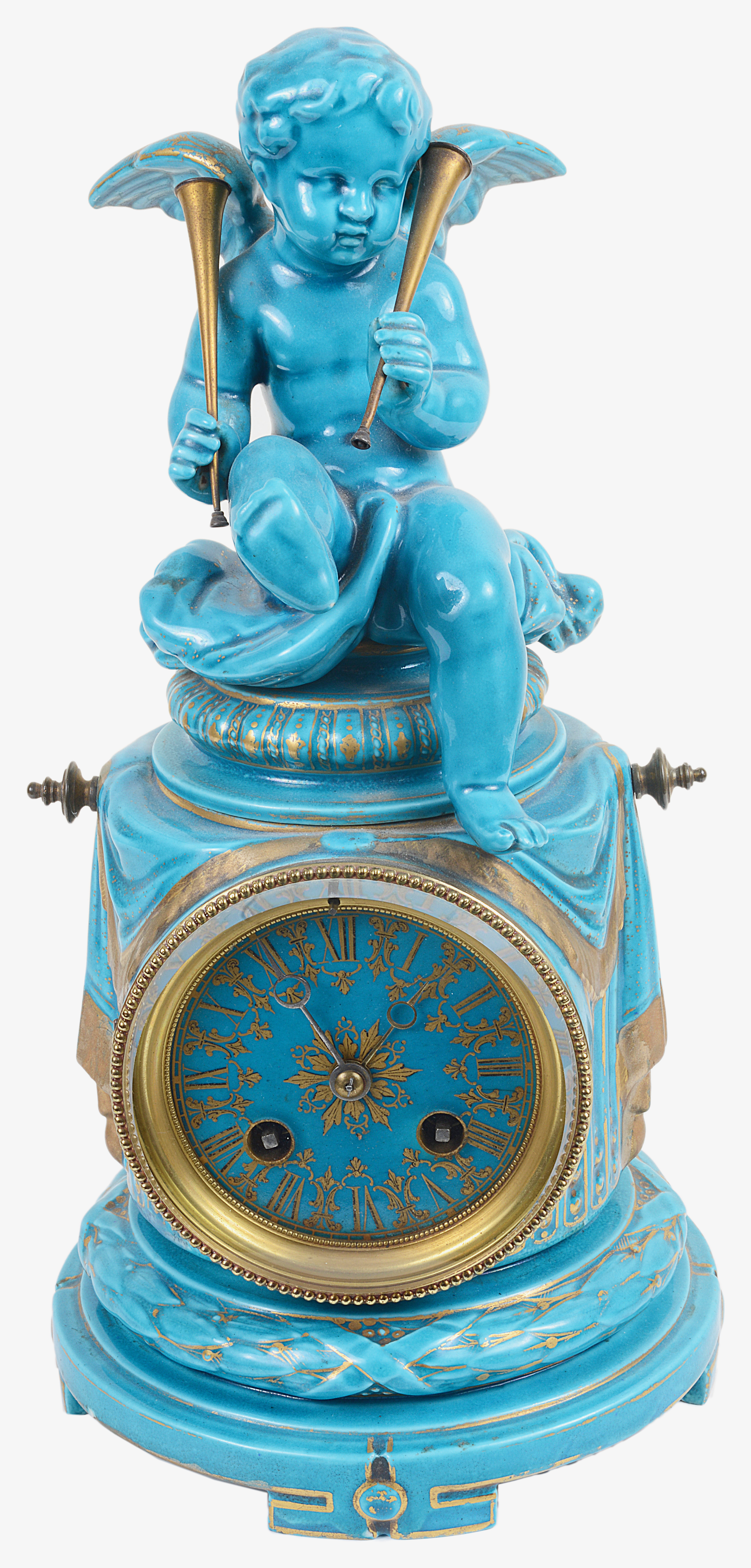 Lot 34 - A French porcelain turquoise glazed clock, late 19th century