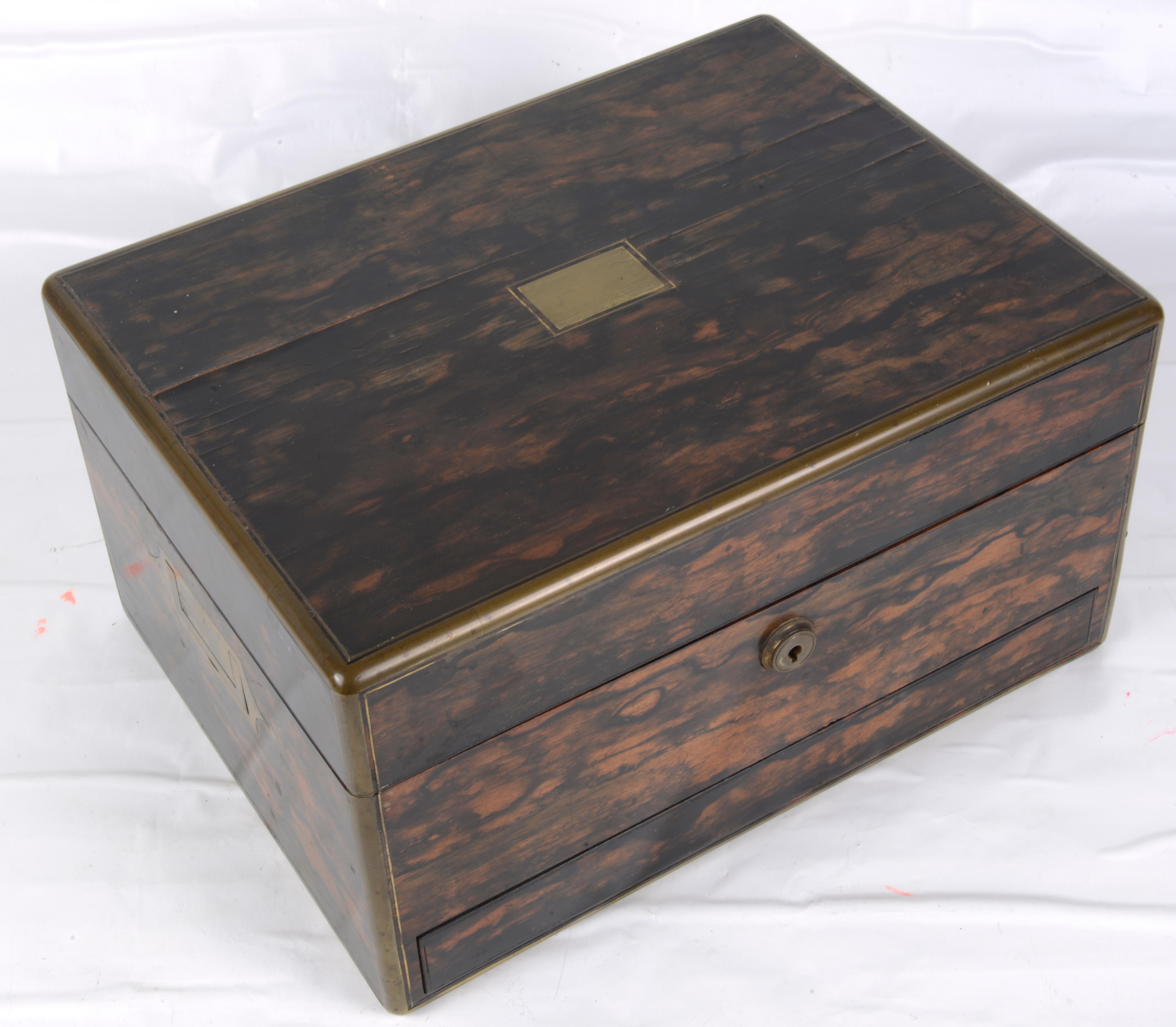 Lot 18 - A Victorian S Mordan & Co. London coromandel dressing table box,