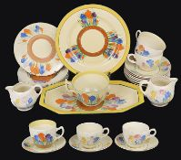 An assorted collection of Clarice Cliff 'Crocus' pattern