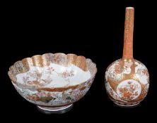 A Japanese Kutani bottle vase and fluted bowl