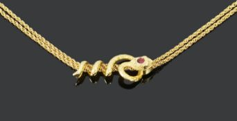 An unusual 19th century French sliding snake chain necklace