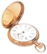 A 14k gold Waltham full hunter pocket watch