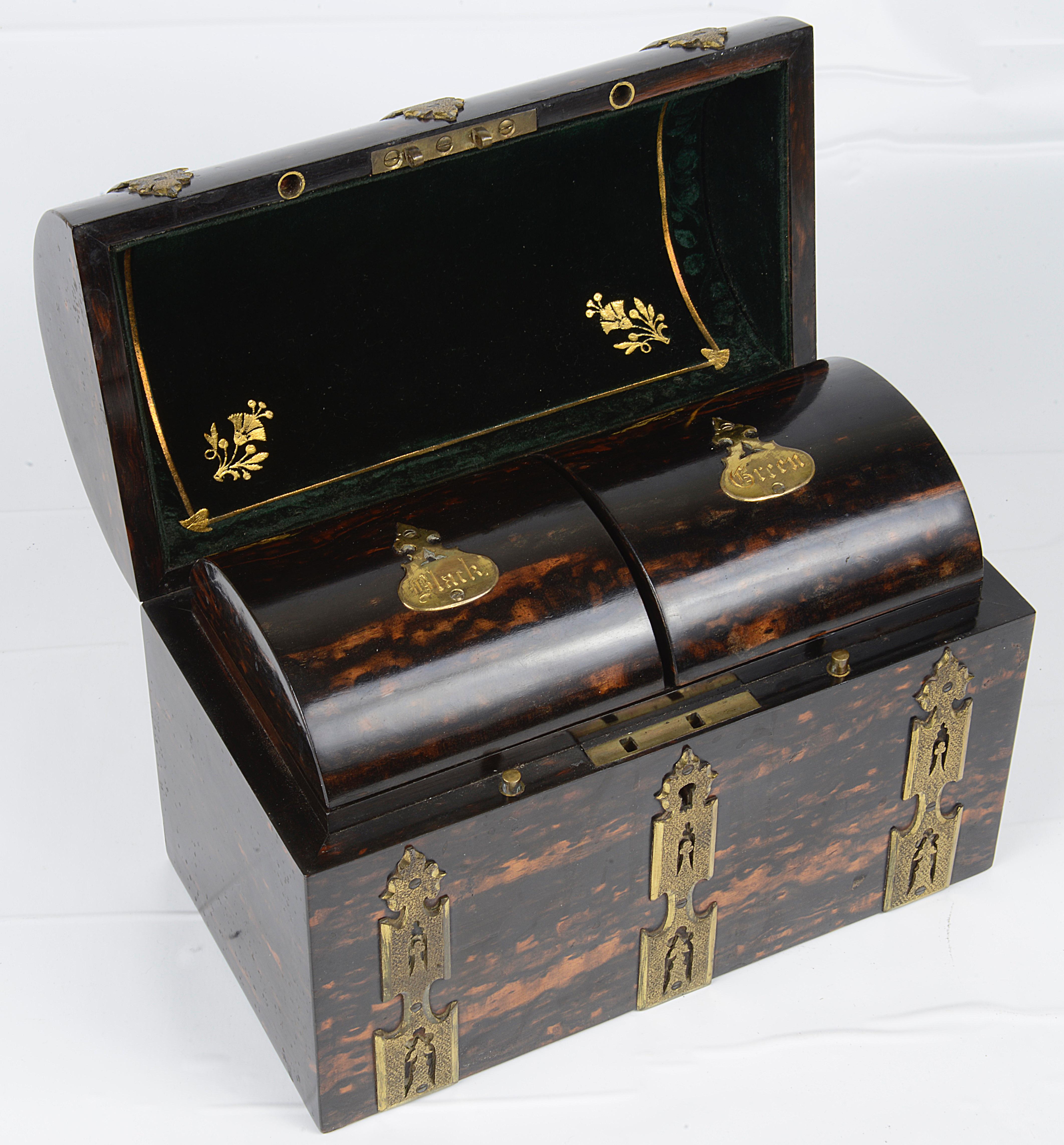 Lot 19 - A Victorian coromandel tea caddy,