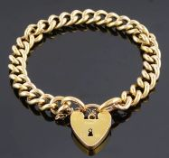 A Continental yellow metal gold curb link bracelet