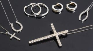 Three contemporary Continental delicate diamond set pendants and other items