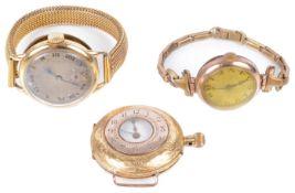 A 9ct gold ladies wristwatch, an 18ct gold ladies wristwatch and an 18ct gold pocket watch