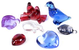 A collection of seven Baccarat glass animals and heart, 20th century