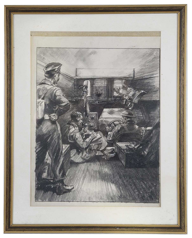 Lot 39 - Charles E Turner (Brit., 1893 - 1965) World War II charcoal sketch