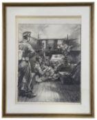 Charles E Turner (Brit., 1893 - 1965) World War II charcoal sketch