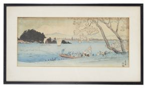 Two Japanese woodblock prints of river scenes, 20th century; others