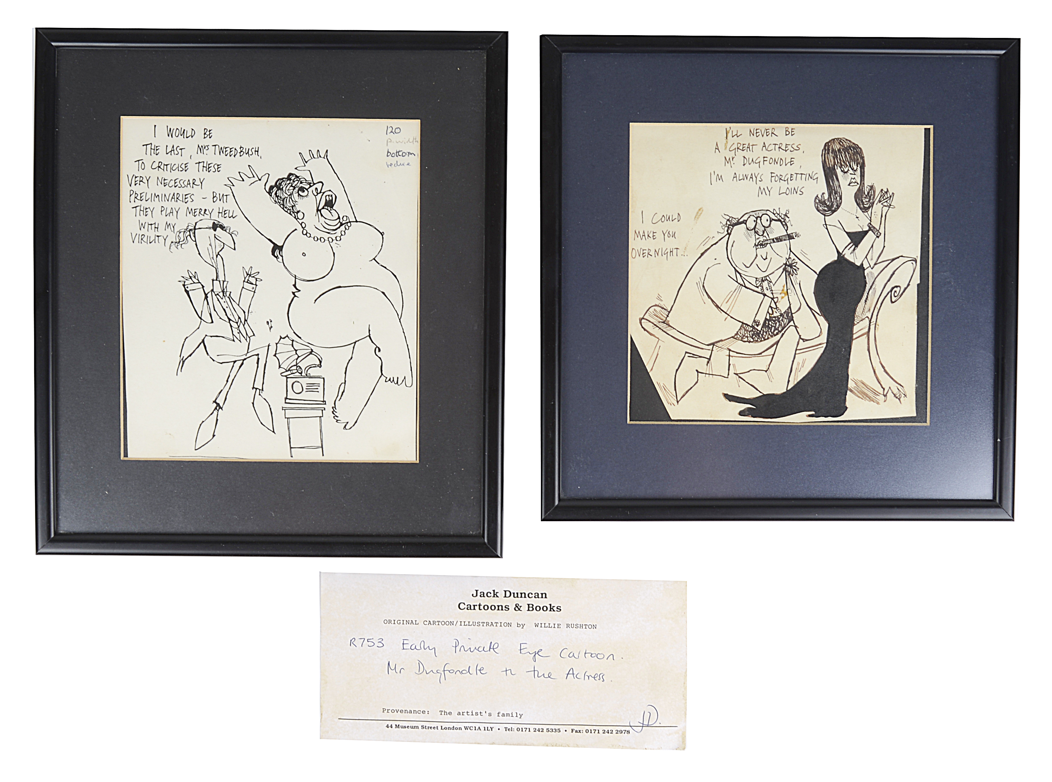 Lot 40 - Willie Rushton (Brit., 1937-1996) pen and ink drawings for Private Eye