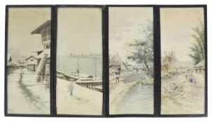 H Watanabe, (Japanese, 20th century) landscape and river scenes; others