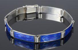 A Scandinavian silver and blue guillioche enamel panel bracelet