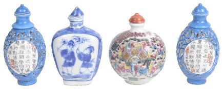 A pair of Chinese 20th century porcelain reticulated porcelain snuff bottles