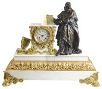 A large 19th century French marble and bronze figural mantle clock