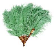 A green ostrich feather fan
