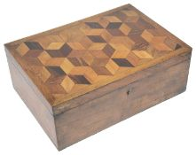 A Victorian parquetry sewing box with contents