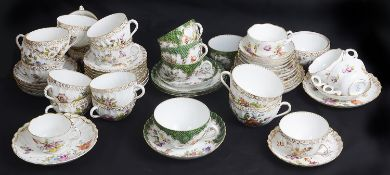 A mixed group of German porcelain teawares, including Tiefenfurt and Dresden