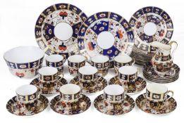 A Royal Crown Derby style 'Imari' pattern part tea service,