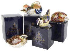 Three boxed Royal Crown Derby Imari bird paperweights
