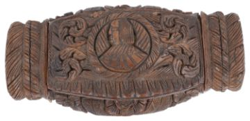 A late 18th c. Fr. carved coquilla nut snuff box