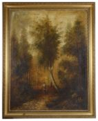 W H Sawdon (19th c. Brit.) A pair of wooded landscapes, oil on canvas