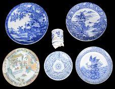 A Japanese blue and white Japanese porcelain brush pot