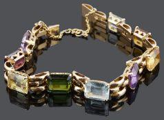 A Continental multi coloured gem set bracelet, c1940