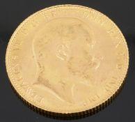 An Edward VII gold full sovereign 1907