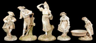 A Royal Worcester porcelain blush ivory Hogarth style girl comport, c1887, after Hadley; others