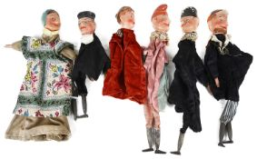 Six Fr. early 20th c. puppets including Punch & Judy